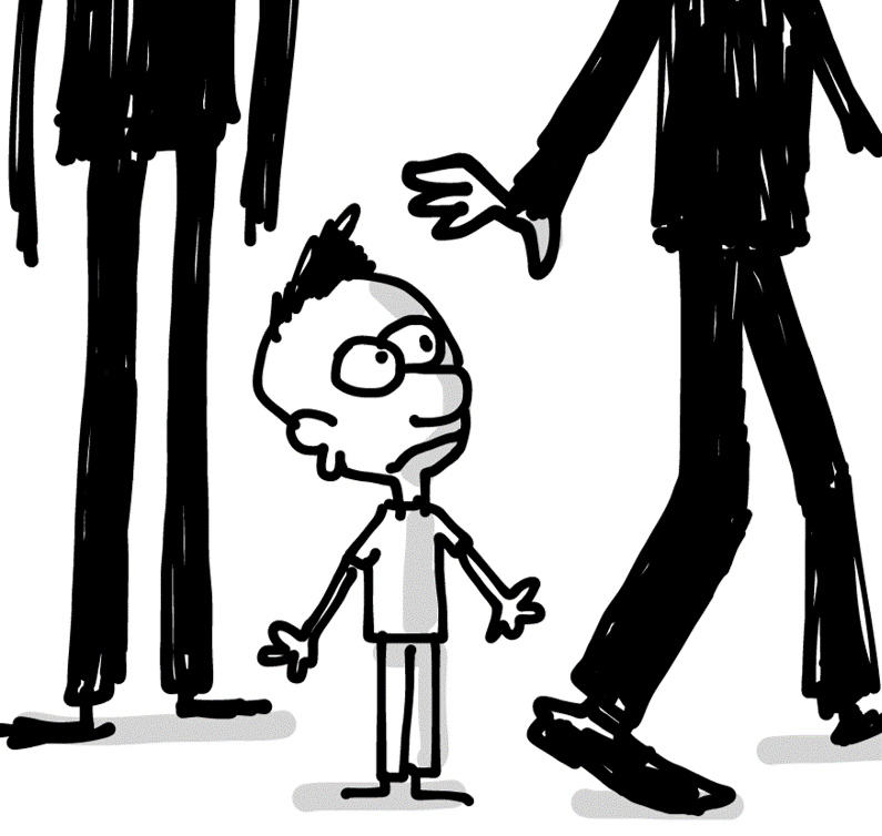 sketching of a student looking uncertain among taller adults