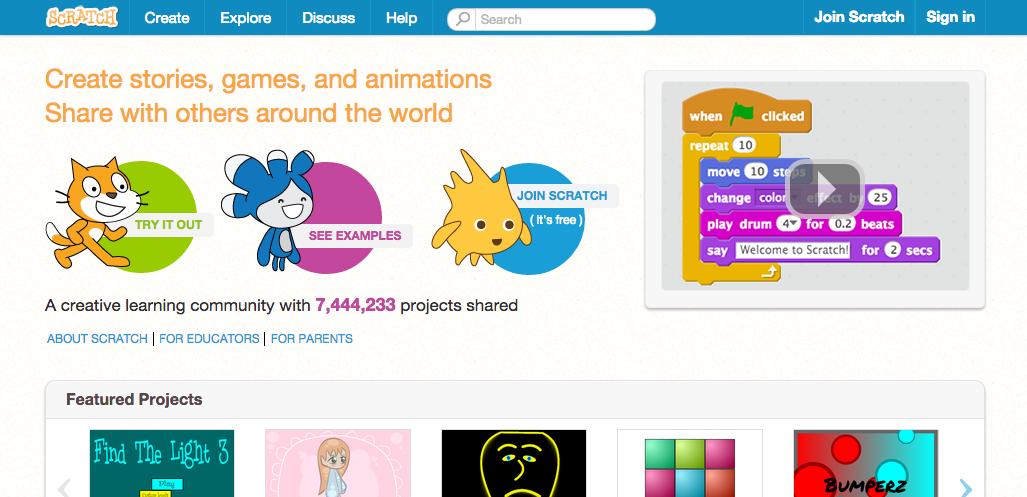 scratch.mit.edu Home Page Screenshot