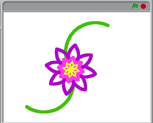 a drawing of a purple flower with a yellow center on a green vine