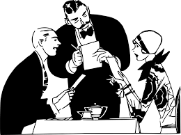 Two people talking to the waiter