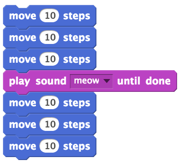 A script with three move blocks, a play sound block, and three more move blocks.