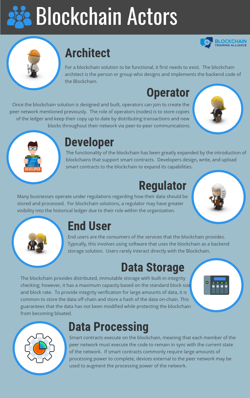 Blockchain Actors: architect, operator, developer, regulator, end user, data storage, data processing