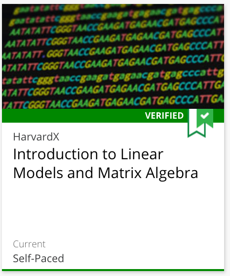 Course 2: Introduction to Linear Models and Matrix Algebra