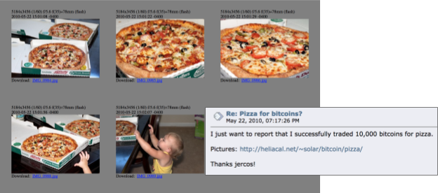 "Image of Laszlo Hanyecz's pizzas that he ordered online. His post: ""I just want to report that I successfully traded 10,000 bitcoins for pizza."